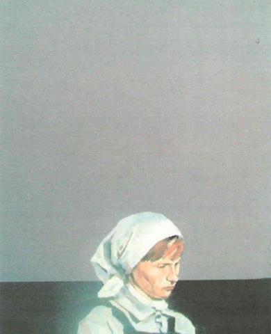 Girl in white scarf by Steven Lindsay